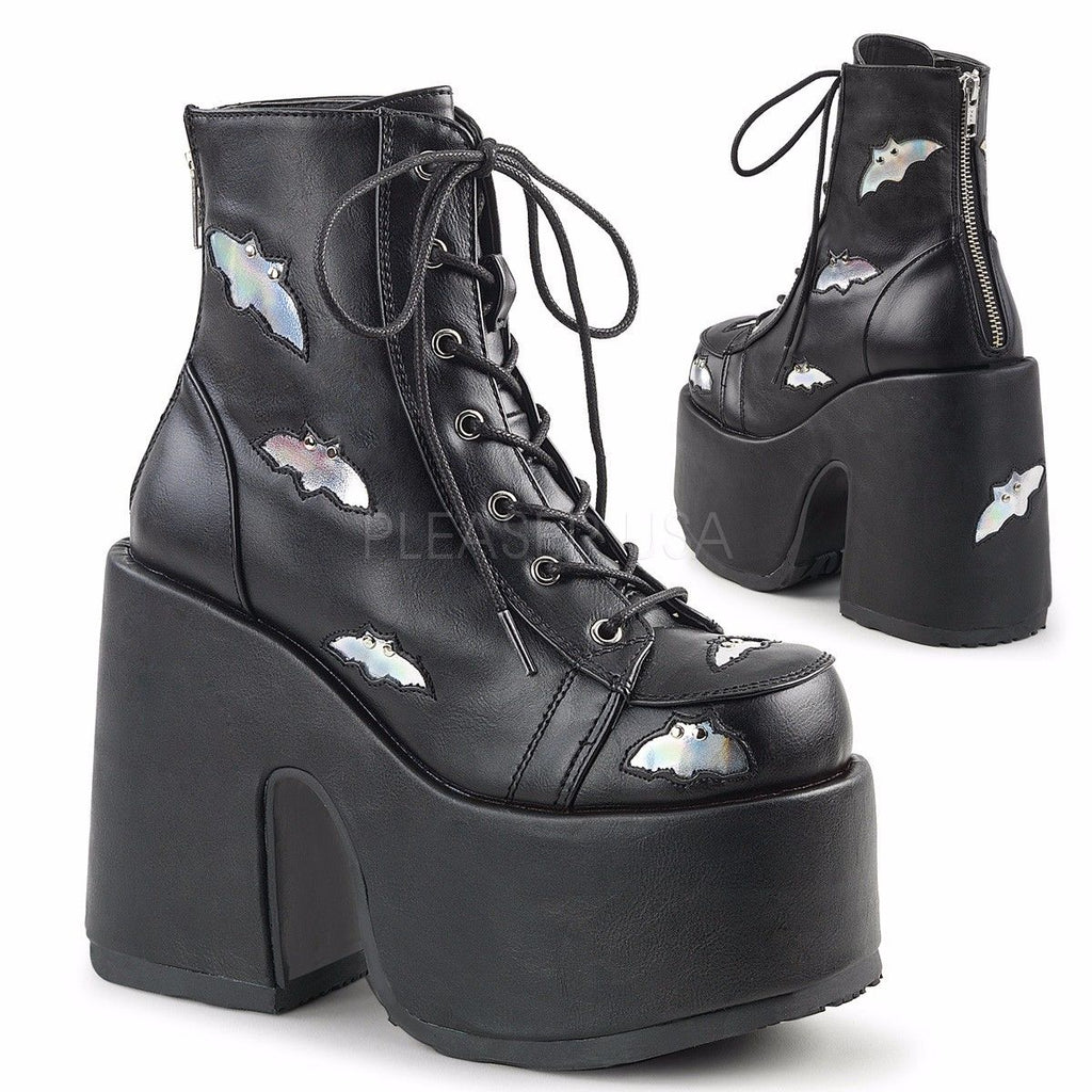 DEMONIA Camel-201 Silver Bat Hologram Studs Goth Chunky Thick Heels Ankle Boots - A Shoe Addiction