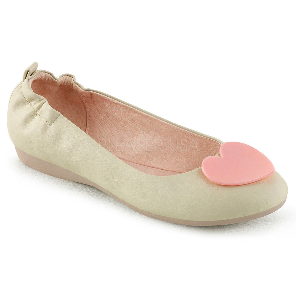 Discontinued PINUP COUTURE Olive-05 Black Cream Heart Elasticated Foldable Flats