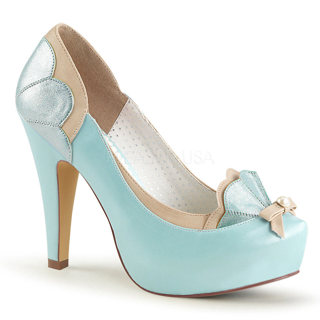 Discontinued PINUP COUTURE Bettie-20 Pink Blue Pin Up Scalloped Pearl Pumps Heel