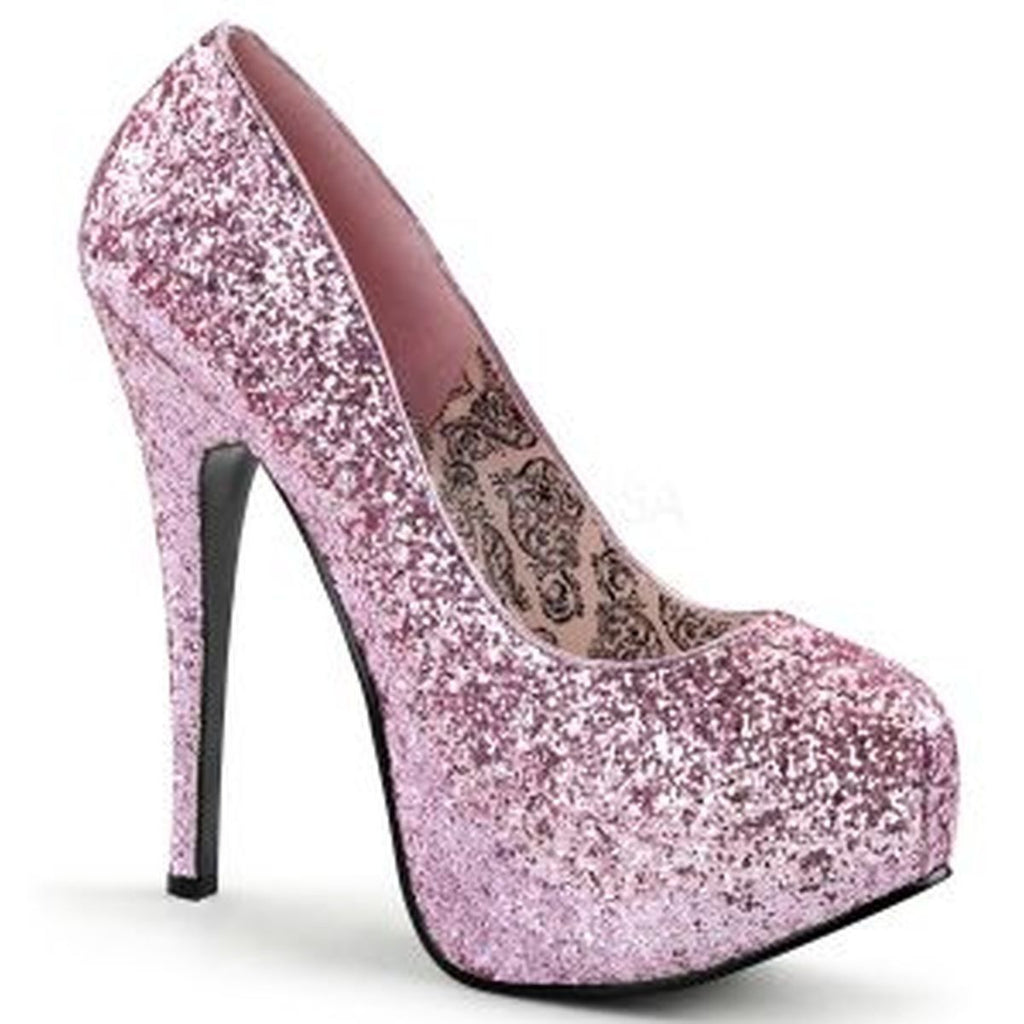Discontinued BORDELLO Teeze-06G Silver Pink Purple Green Glitter Burlesque Heels - A Shoe Addiction