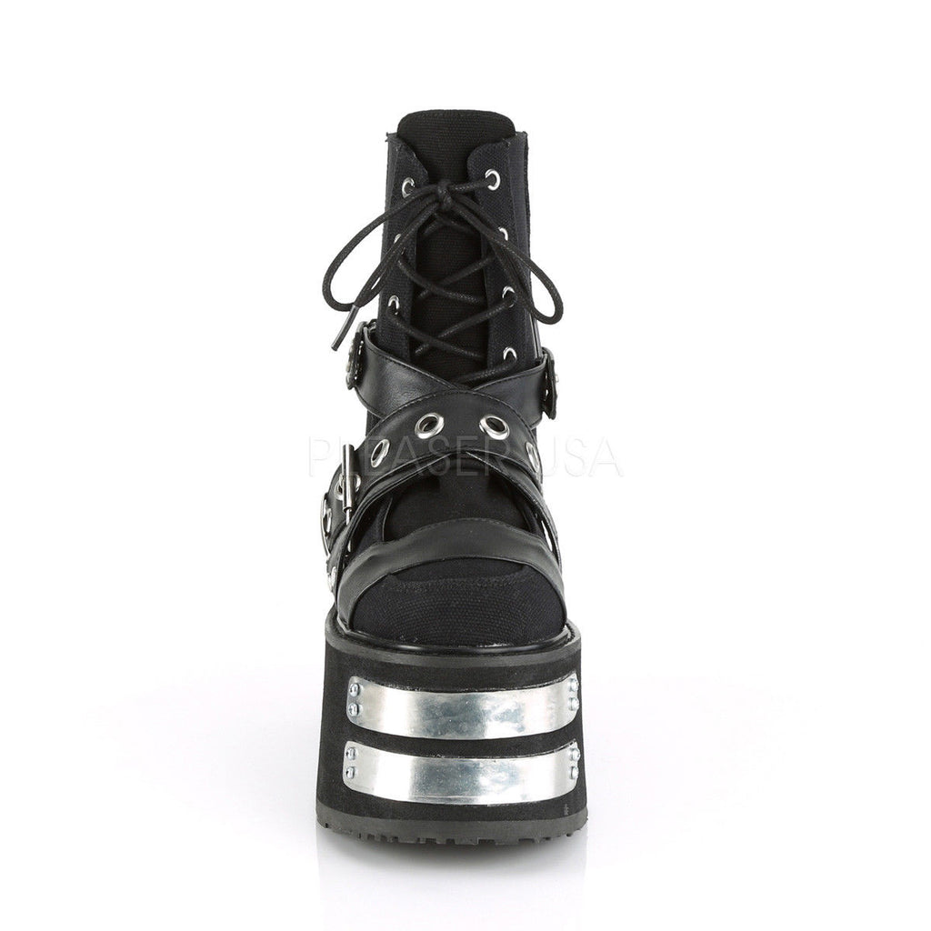 DEMONIA Damned-116 Black Vegan Leather Magic Mirror TPU Metal Plate Ankle Boots - A Shoe Addiction