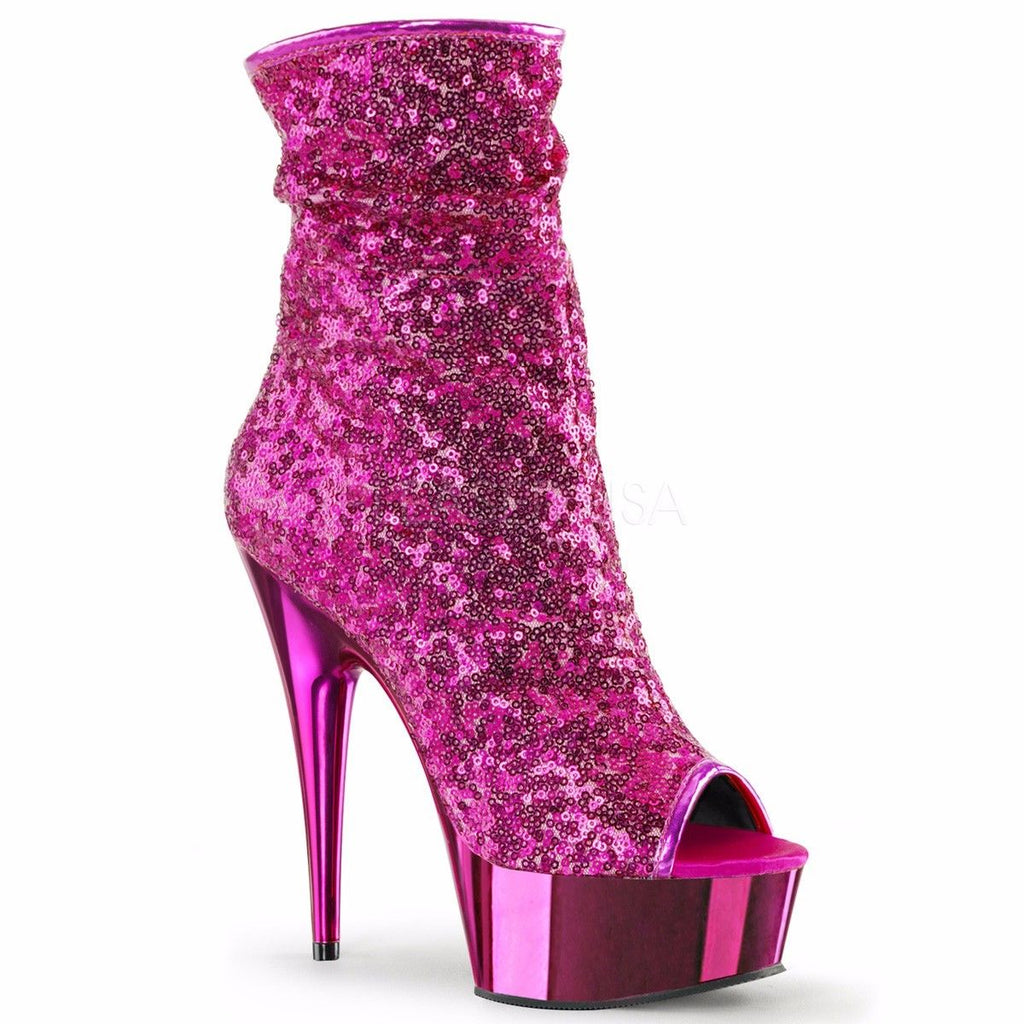 Discontinued PLEASER Delight-1008SQ Sequins Chrome Club Burlesque Ankle Calf Boots Heels 4-11 - A Shoe Addiction