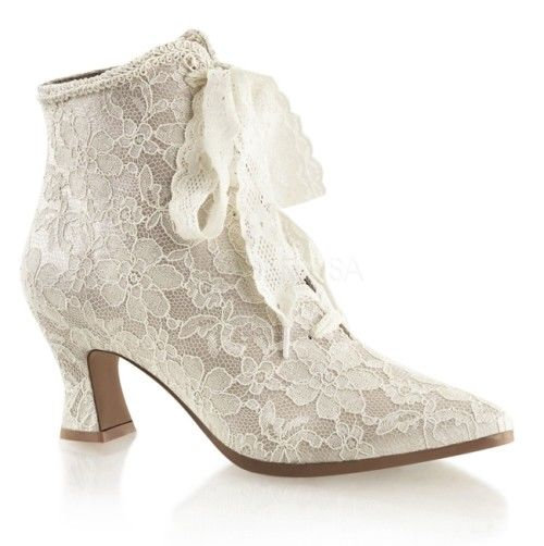 FABULICIOUS Victorian-30 Champagne Ivory Satin Lace Bridal Boots Kitten Heels - A Shoe Addiction