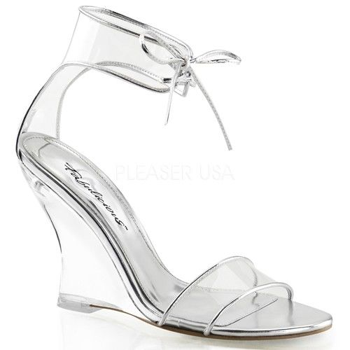 Discontinued FABULICIOUS Lovely-460 Clear Dress Ankle Cuff Wedges Sandals Heels - A Shoe Addiction