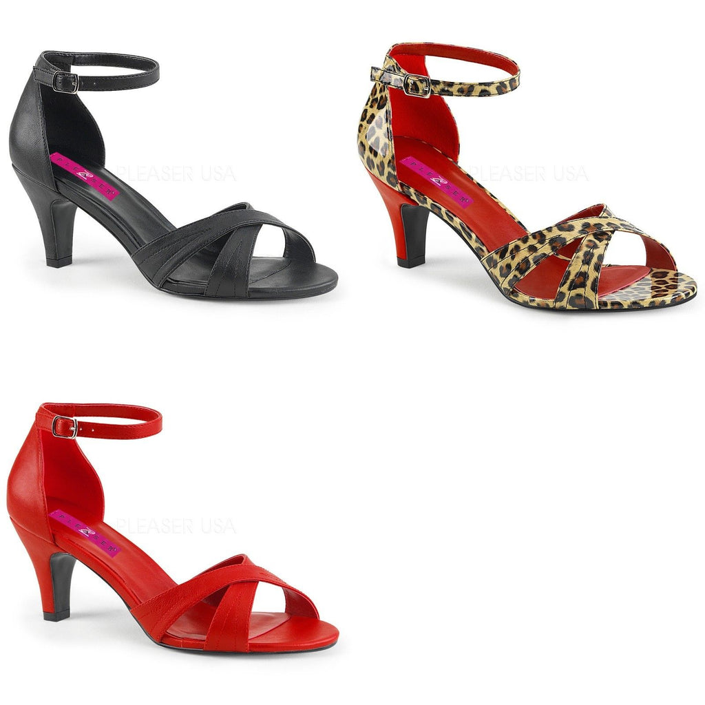 "Discontinued PLEASER PINK LABEL Divine-435 Cheetah Drag Sandals 3"" Heels 8-15 - A Shoe Addiction"