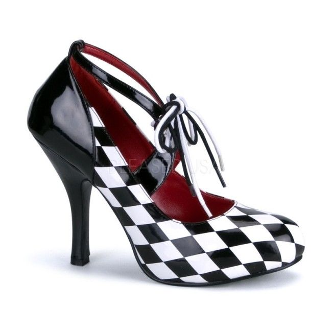 FUNTASMA Harlequin-03 Black White Checkers Racecar Retro Halloween Costume Heels - A Shoe Addiction