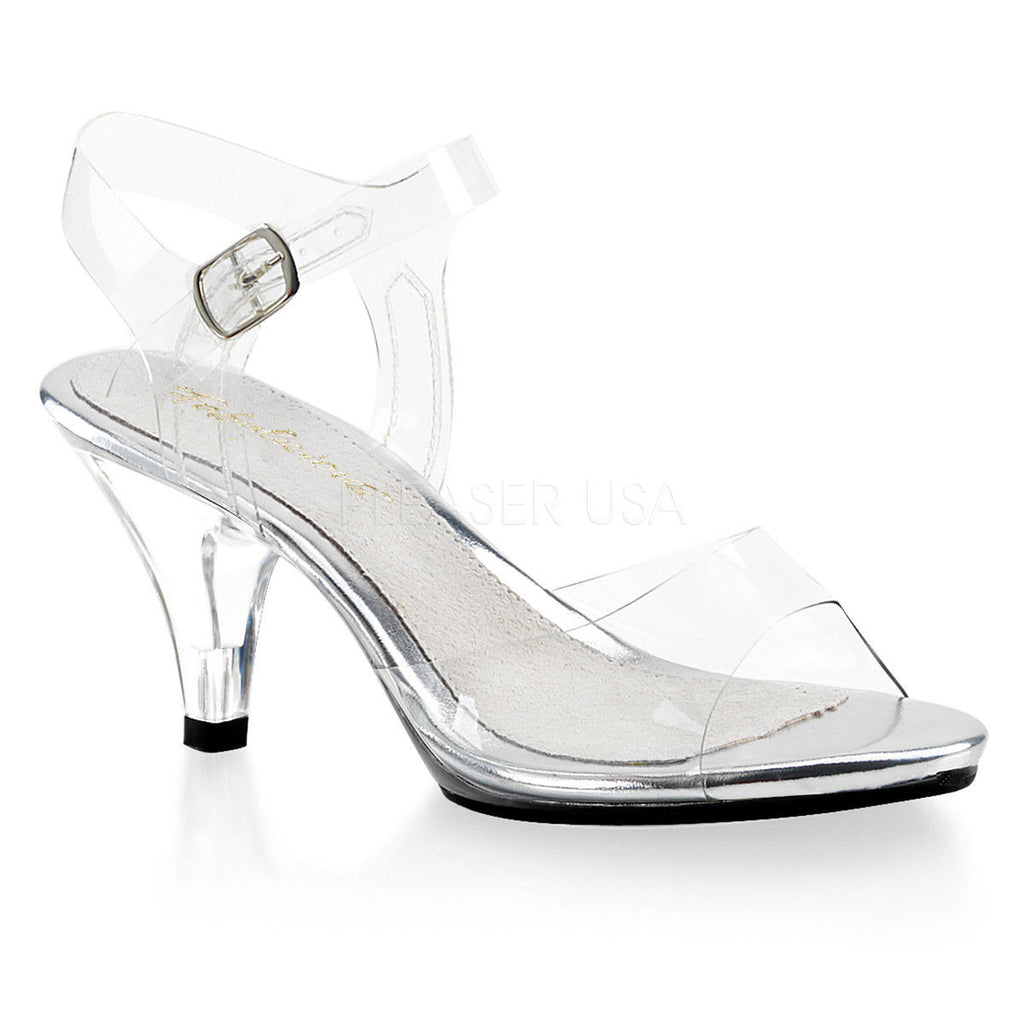 "PLEASER Belle-308 Clear Fitness Bikini Comp Ankle Strap Sandals 3"" Heels 4-15 - A Shoe Addiction"