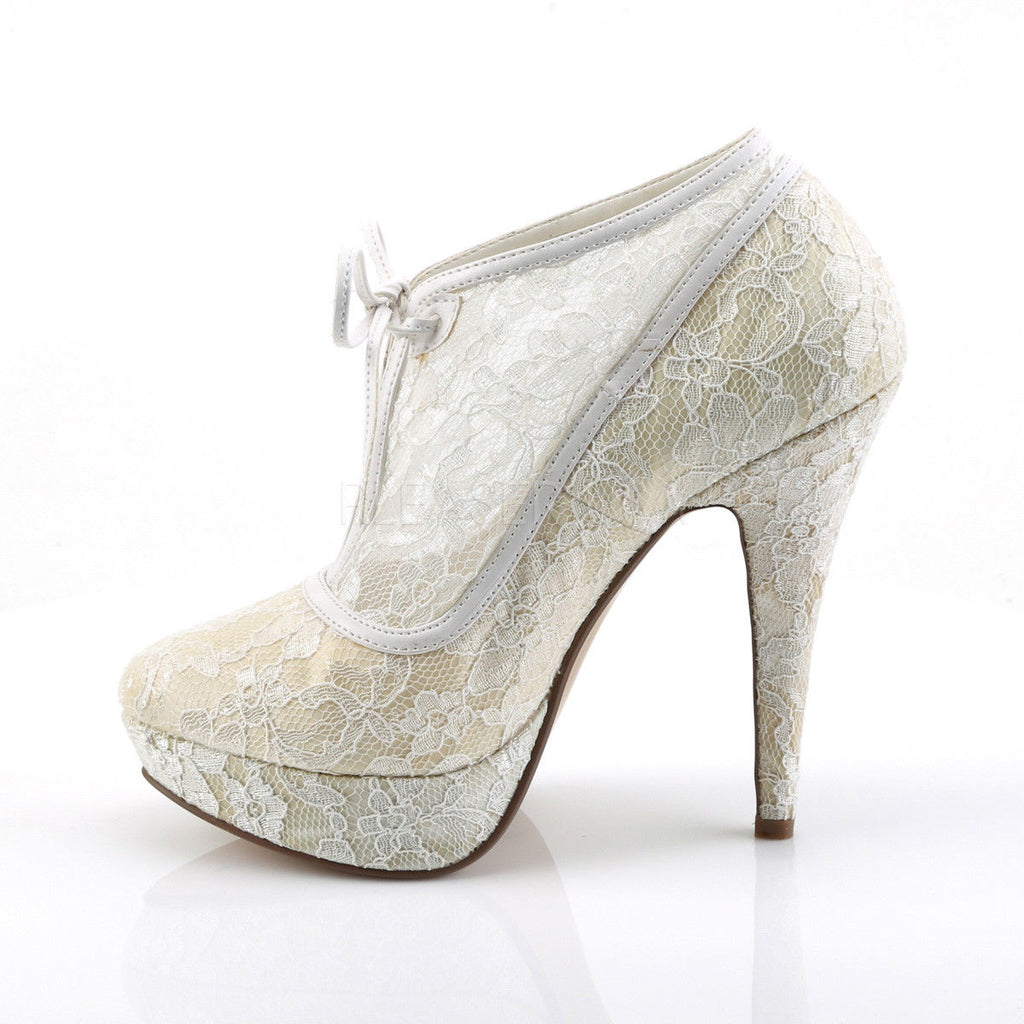 FABULICIOUS Lolita-32 Ivory Satin Mesh Lace Overlay Wedding Booties Boots Heels - A Shoe Addiction