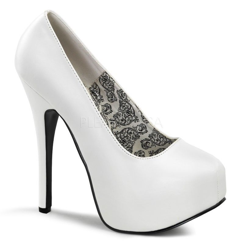 Discontinued BORDELLO Teeze-06 Suede Pinstripe Pinup Work Platforms Heels Pumps - A Shoe Addiction