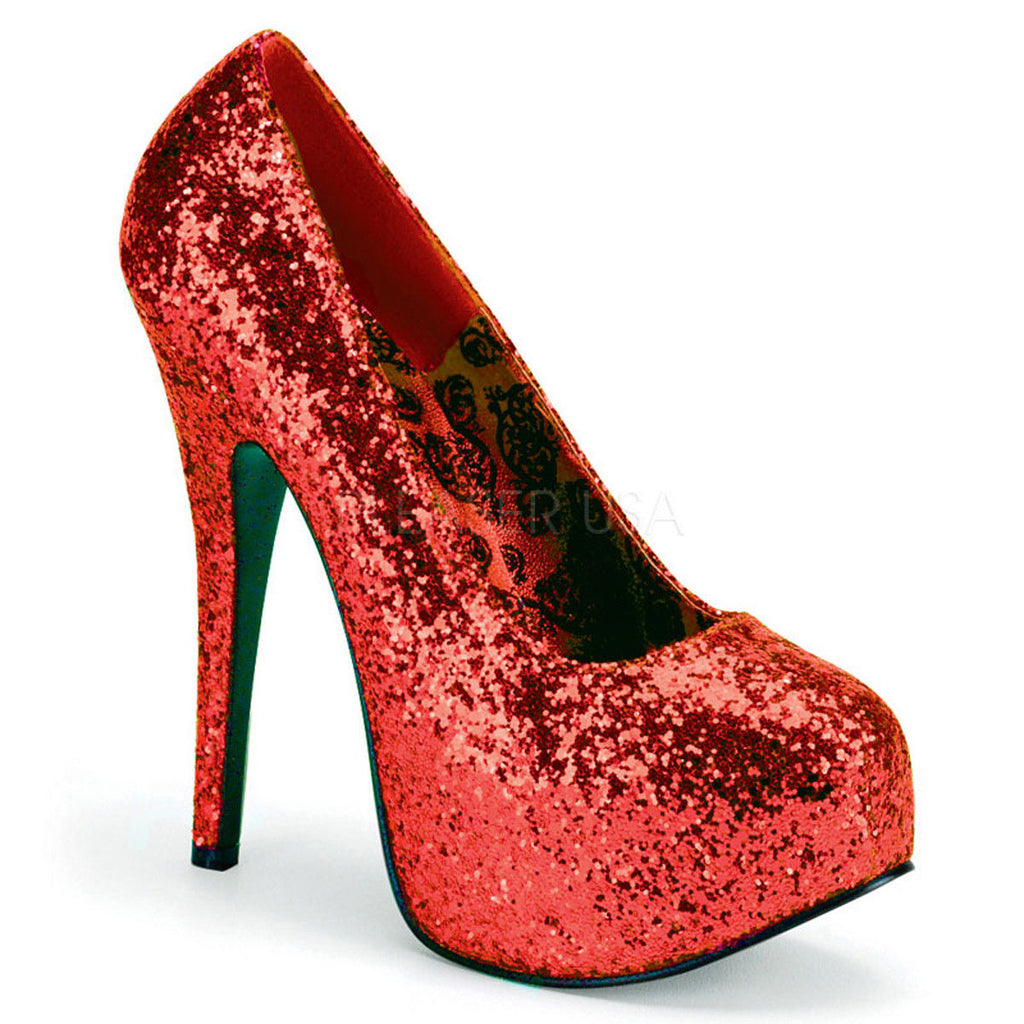 PLEASER PINK LABEL Teeze-06GW WIDE WIDTH Glitter Drag Queen Pumps Heels 10-15 - A Shoe Addiction