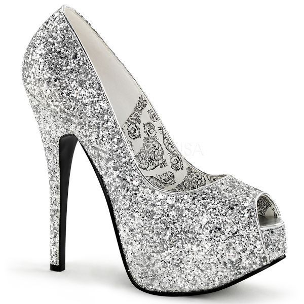 Discontinued BORDELLO Teeze-22G Silver Pink Glitter Peep Toe Platform Pump Heels - A Shoe Addiction
