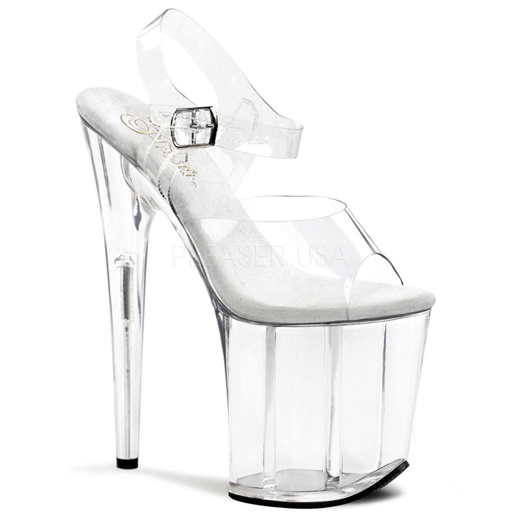 "PLEASER Flamingo-808 Clear Chrome Stripper Pole Dancer Club 4"" Platform 8"" Heels"