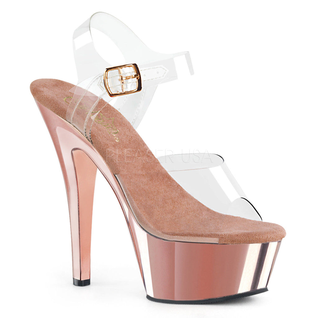 "PLEASER Kiss-208 Rose Gold Chrome Stripper Pole Dancer Club Ankle Strap 6"" Heels"