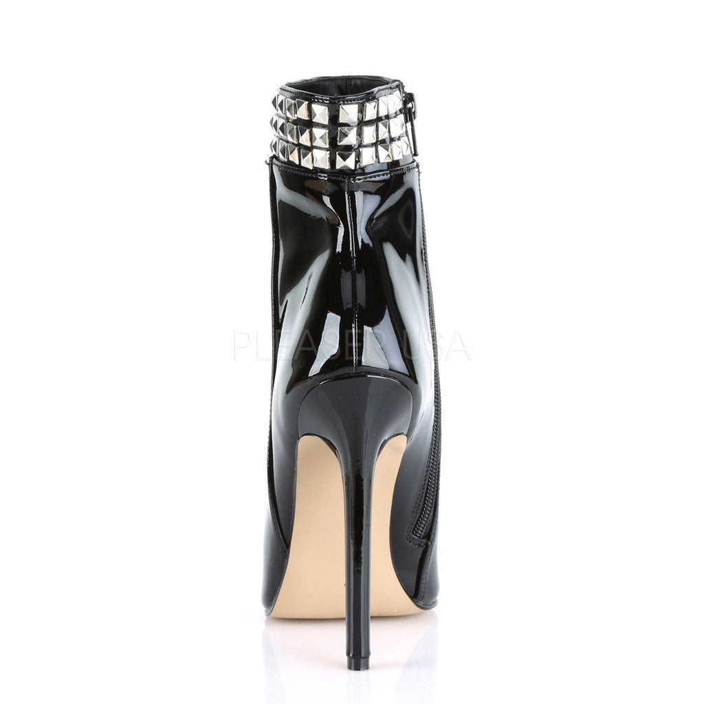 PLEASER Sexy-1006 Black Patent Sexy Club Studded Ankle Boots Stiletto High Heels - A Shoe Addiction