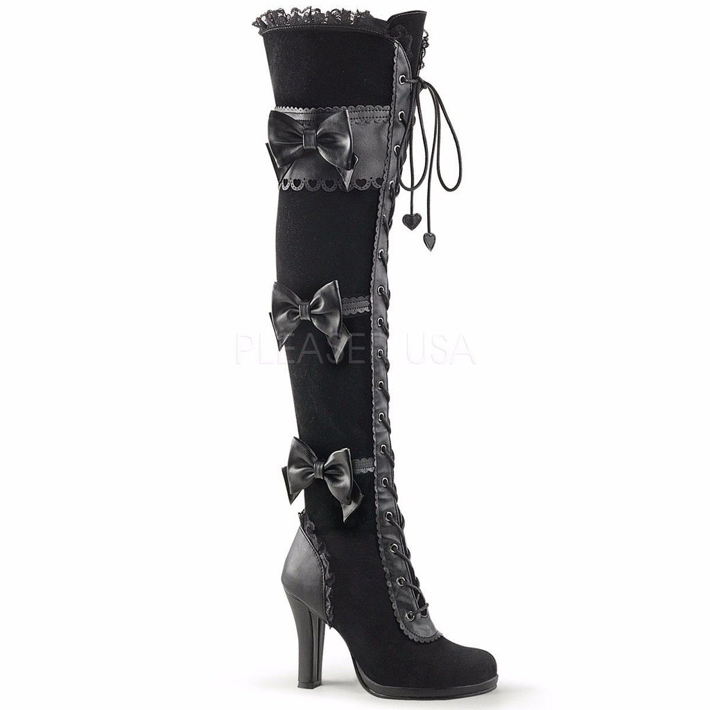 DEMONIA Glam-300 Black Goth Lolita Lace Velvet Bows Lace Up Thigh Boots Heels - A Shoe Addiction