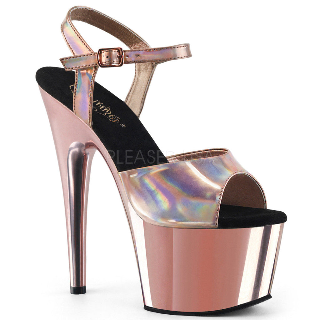 "PLEASER Adore-709HGCH Silver Hologram Chrome Sandals Club Platforms 7"" Heels"