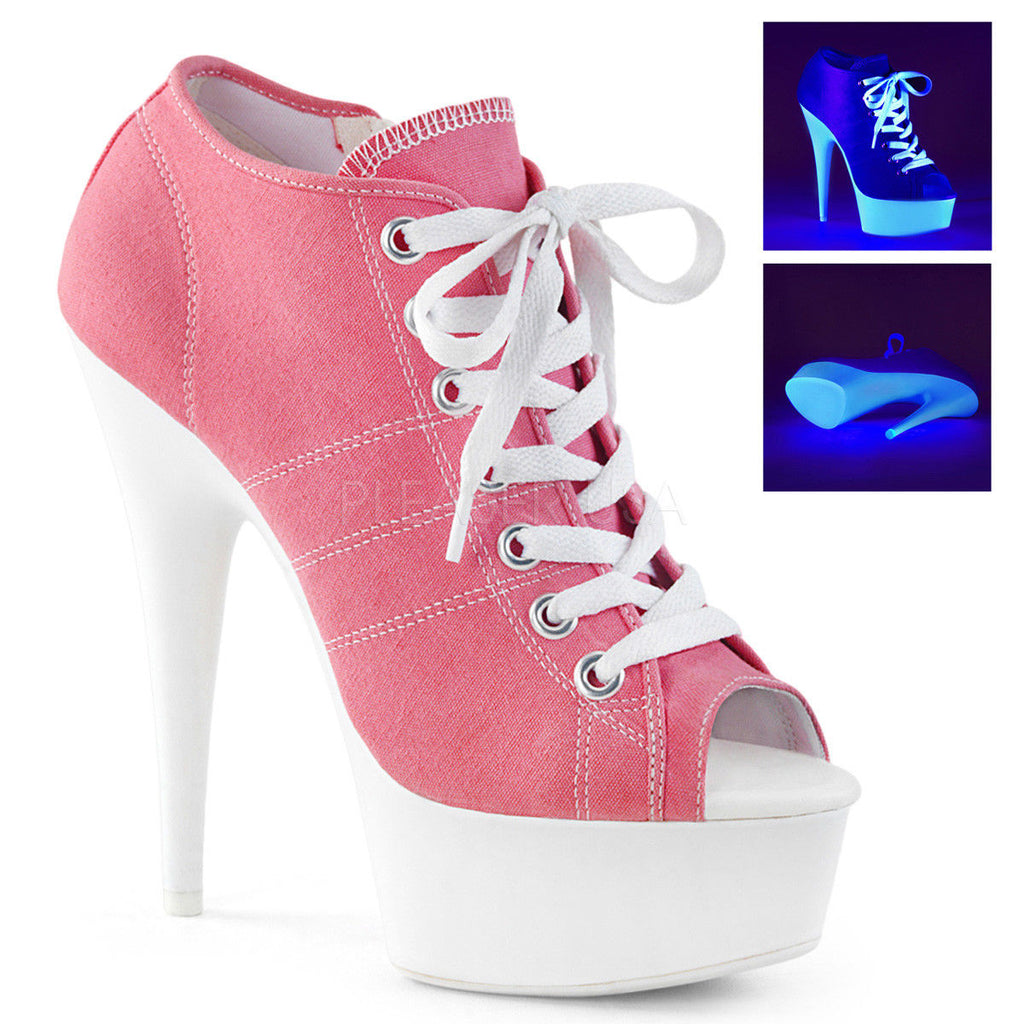 PLEASER Delight-600SK-01 Black Blue Pink Red White Canvas Sneaker Boot Heels