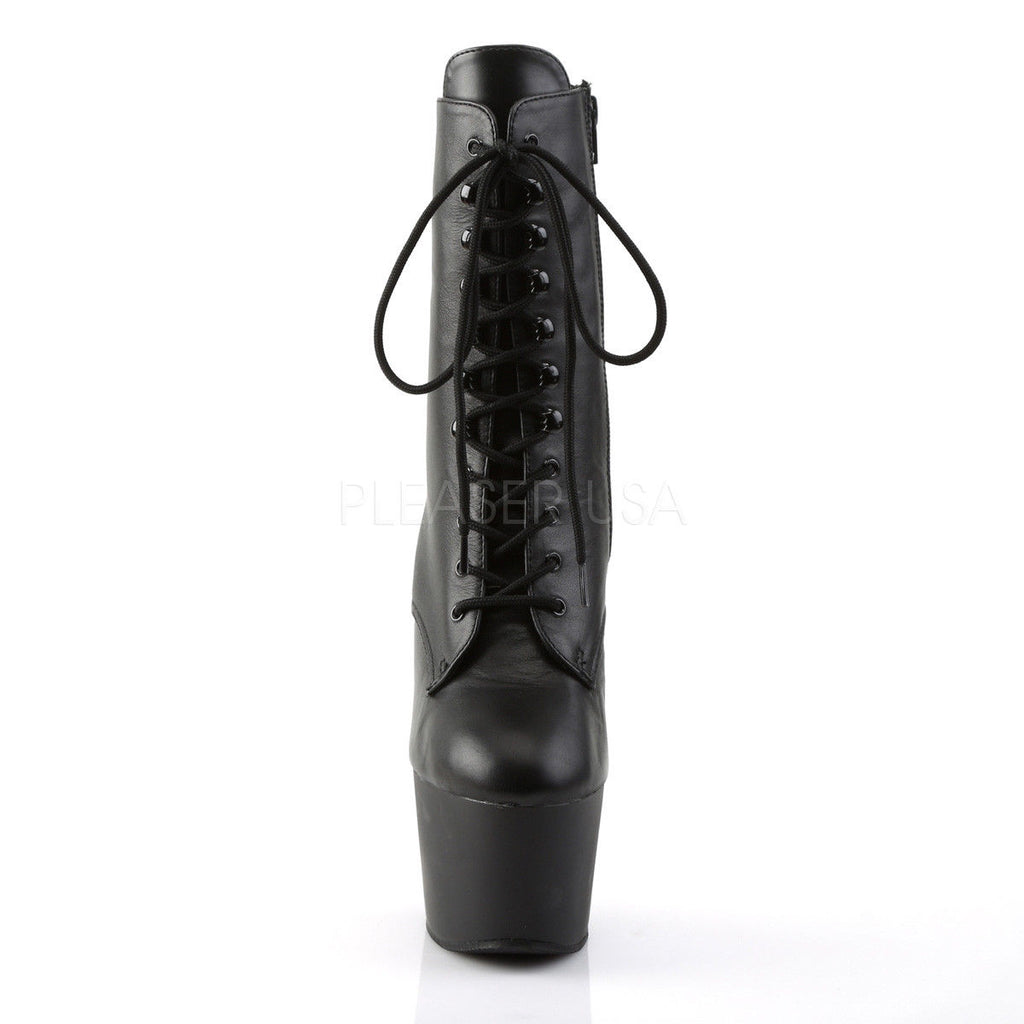 "PLEASER Adore-1020 Black Real Leather Lace Up Zip Ankle Calf 7"" Platform Boots - A Shoe Addiction"