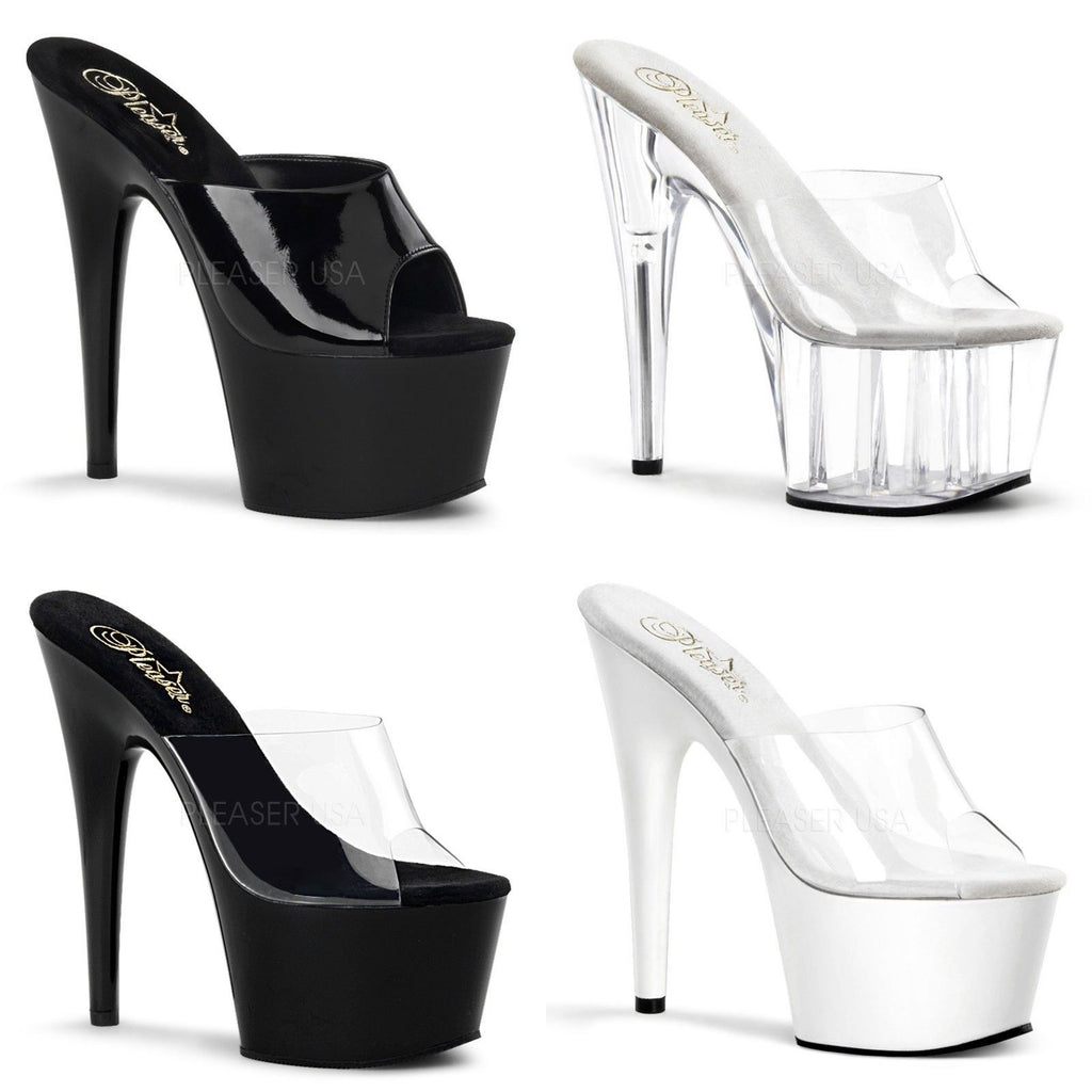 "PLEASER Adore-701 Black White Clear Slides Mules Pole Dancer Platforms 7"" Heels - A Shoe Addiction"