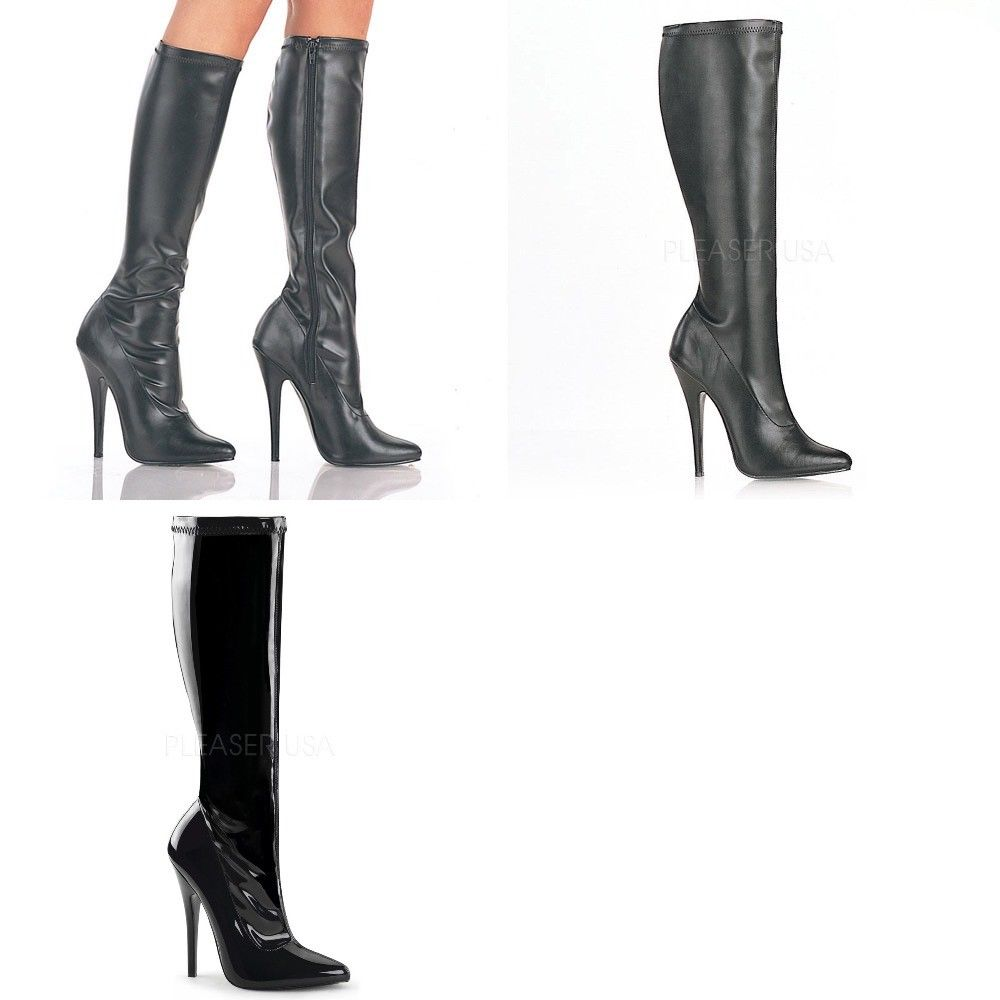 "DEVIOUS Domina-2000 Black Fetish Sexy Drag 6"" Heels Knee Boots Women's Size 5-15 - A Shoe Addiction"