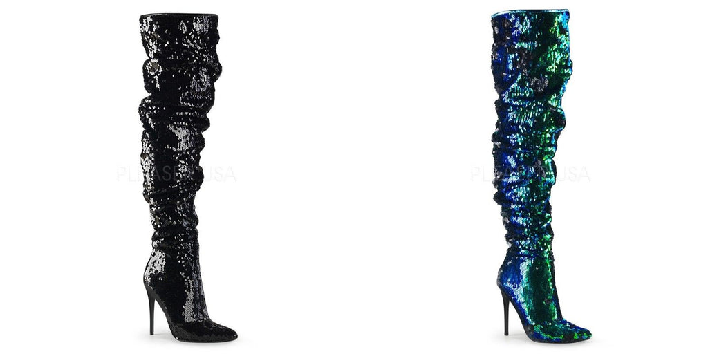 "PLEASER Courtly-3011 Black Green Ruched Slouchy Sequins 5"" Heel Thigh High Boots - A Shoe Addiction"
