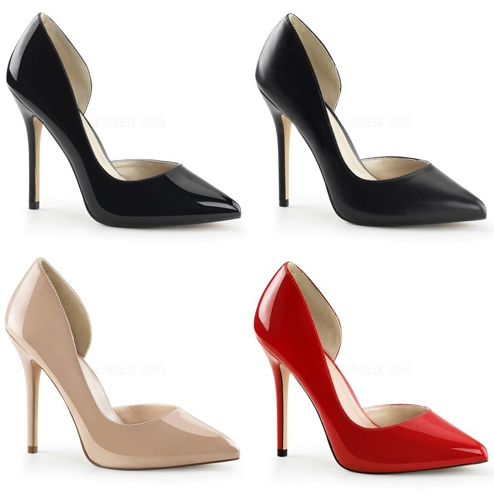 "FABULICIOUS Amuse-22 Black Red Nude Work D'Orsay 5"" Heels Pumps Women's 4-15 - A Shoe Addiction"