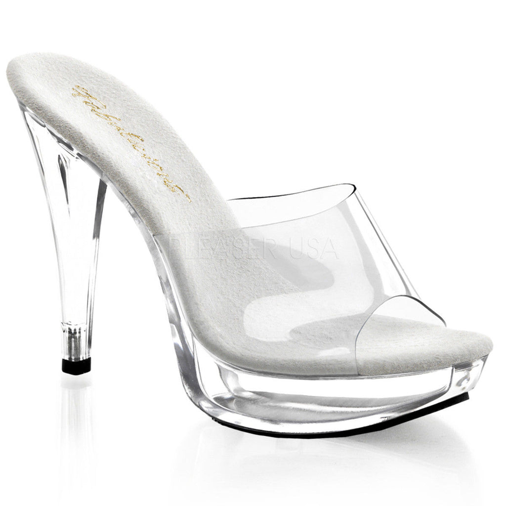 "FABULICIOUS Cocktail-501 Clear Black Platforms Slip On Slides 5"" Heels - A Shoe Addiction"
