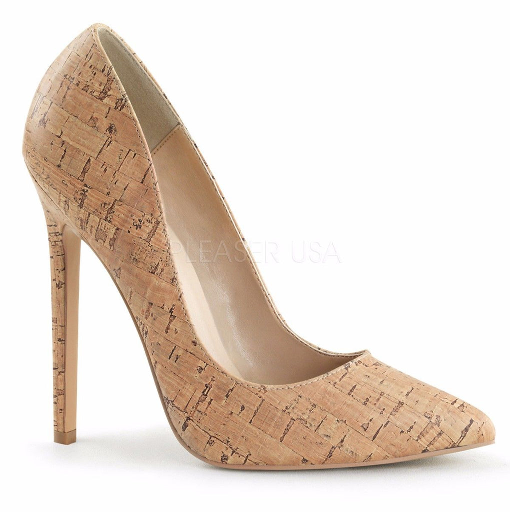 "PLEASER Sexy-20 Pointy Toe Patent Faux Leather Cork Work Dress Pumps 5"" Heels - A Shoe Addiction"