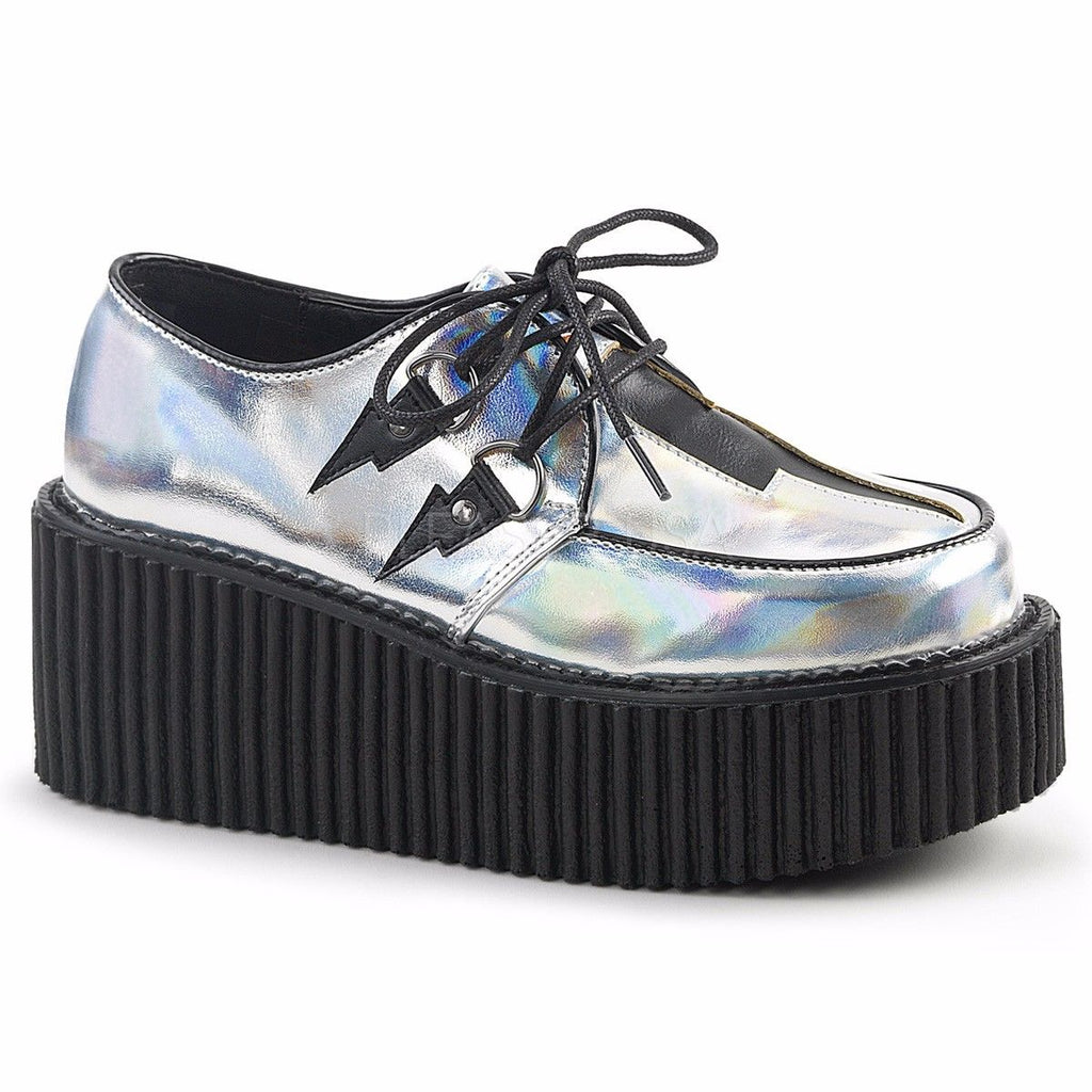 "Discontinued DEMONIA Creeper-218 Silver Hologram Lightning Bolt Goth 3"" Heels - A Shoe Addiction"
