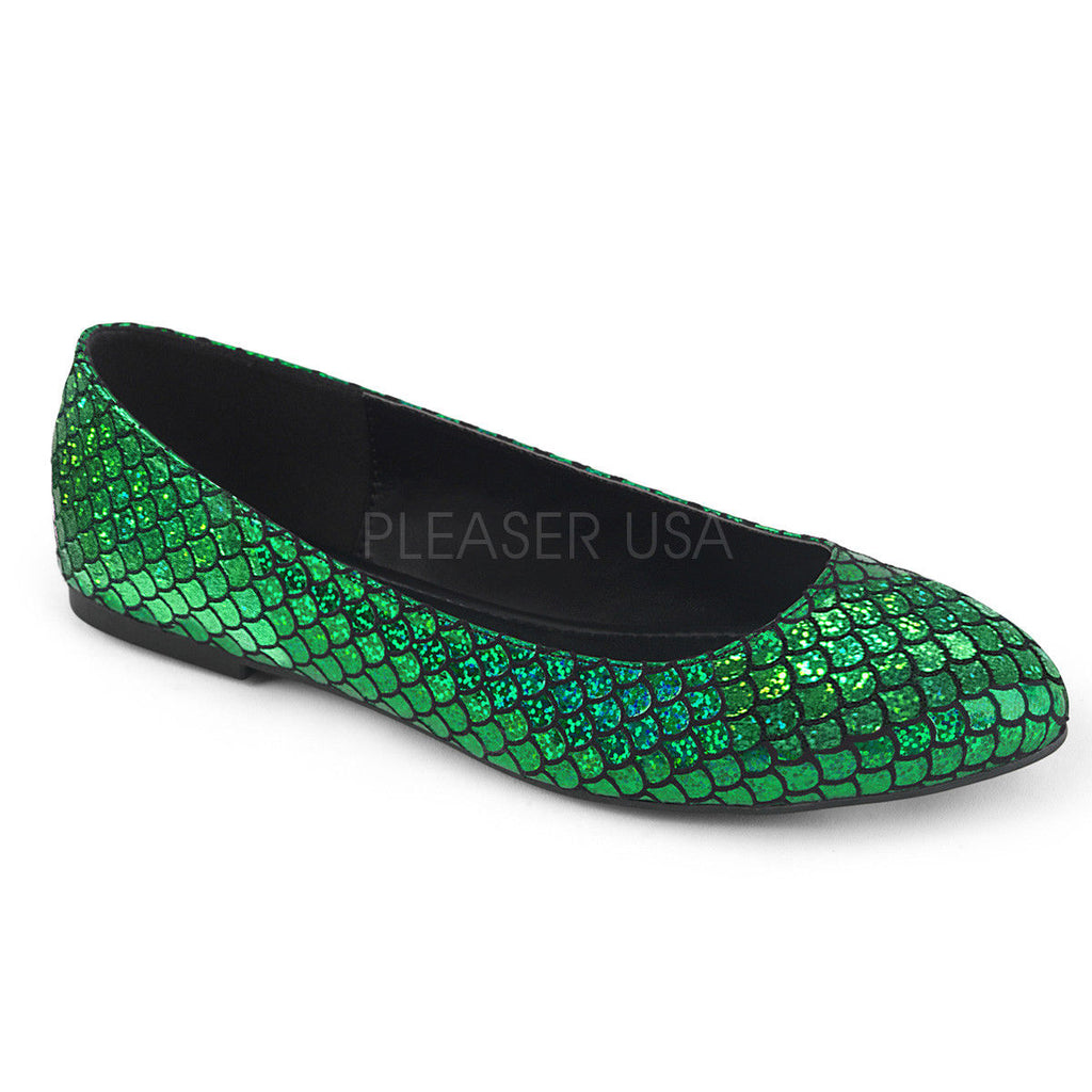 FUNTASMA Mermaid-21 Silver Green Hologram Mermaid Scales Costume Dress Flats
