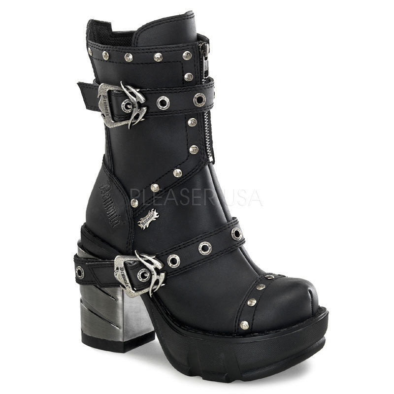 DEMONIA Sinister-201 Women's Goth Steampunk Cyber ABS Chrome Industrial Boots - A Shoe Addiction