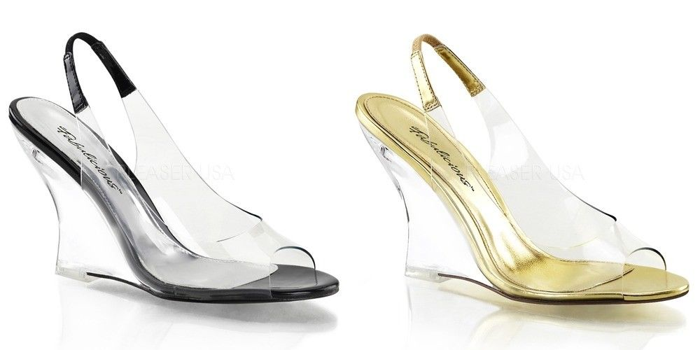 Discontinued FABULICIOUS Lovely-450 Clear Dress Slingback Wedges Sandals Heels