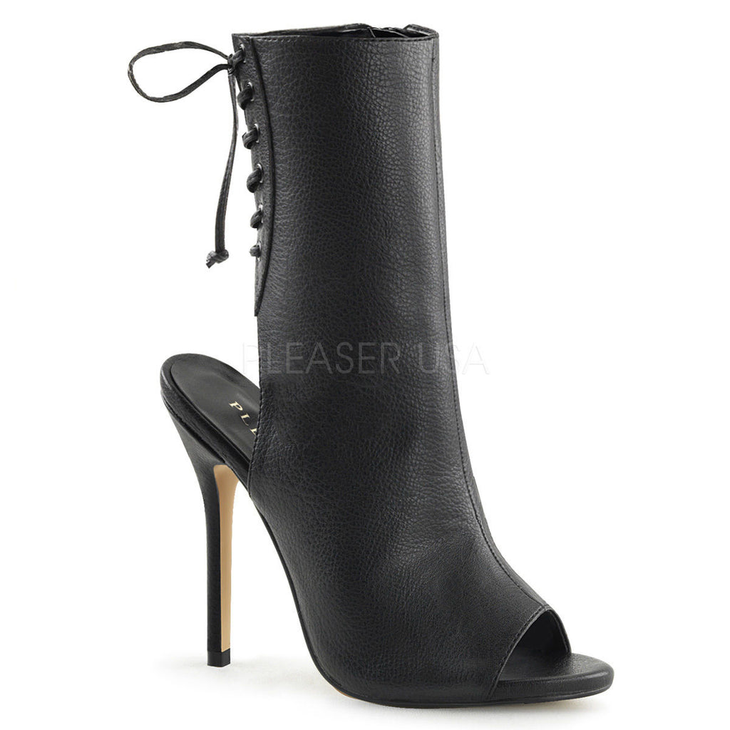 Discontinued PLEASER Amuse-1018 Open Toe Lace Up Back Ankle Boots Heels 4-13 - A Shoe Addiction