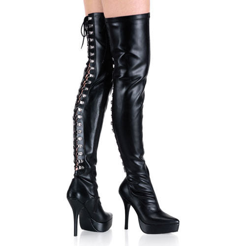 DEVIOUS Indulge-3063 Drag Dominatrix Fetish Lace Up Back Thigh Boot 5-15 - A Shoe Addiction