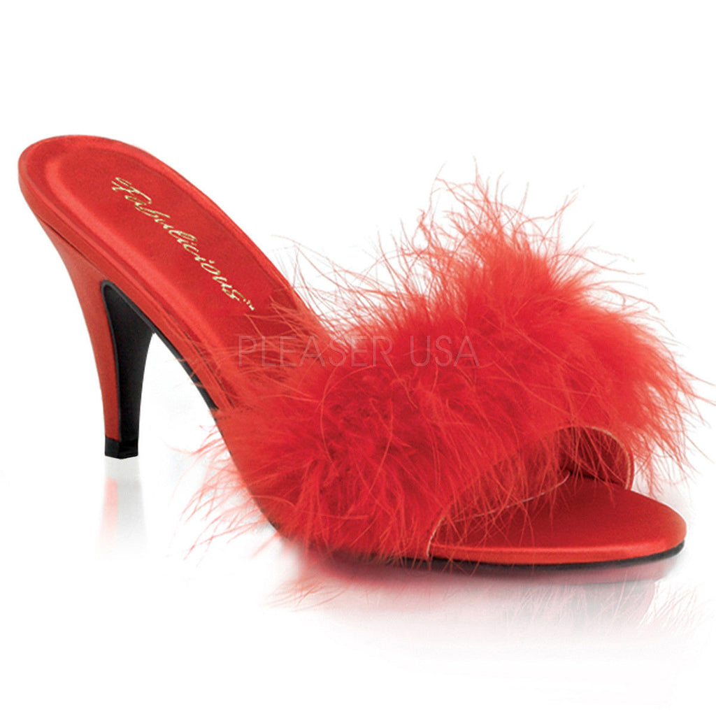 "FABULICIOUS Amour-03 Black White Pink Red Marabou Slippers 3"" Heels Women's 4-15"