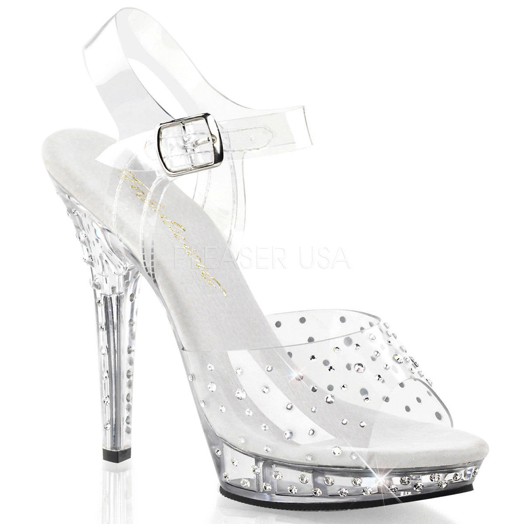 "FABULICIOUS Lip-108RS Clear Ankle Straps Rhinestones Party Club Dress 5"" Heels - A Shoe Addiction"