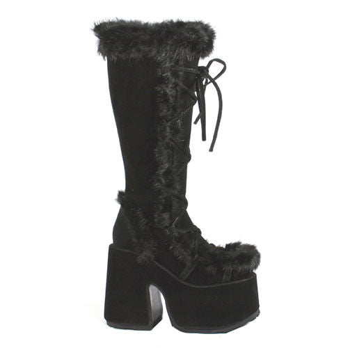 DEMONIA Camel-311 White Black Vegan Suede Leather Faux Fur Goth Platform Boots - A Shoe Addiction