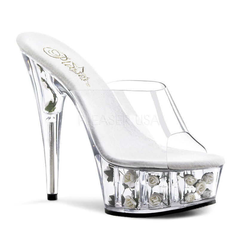 "Discontinued PLEASER Delight-601FL White Pink Rose Stripper Dancer Sexy 6"" Heels - A Shoe Addiction"