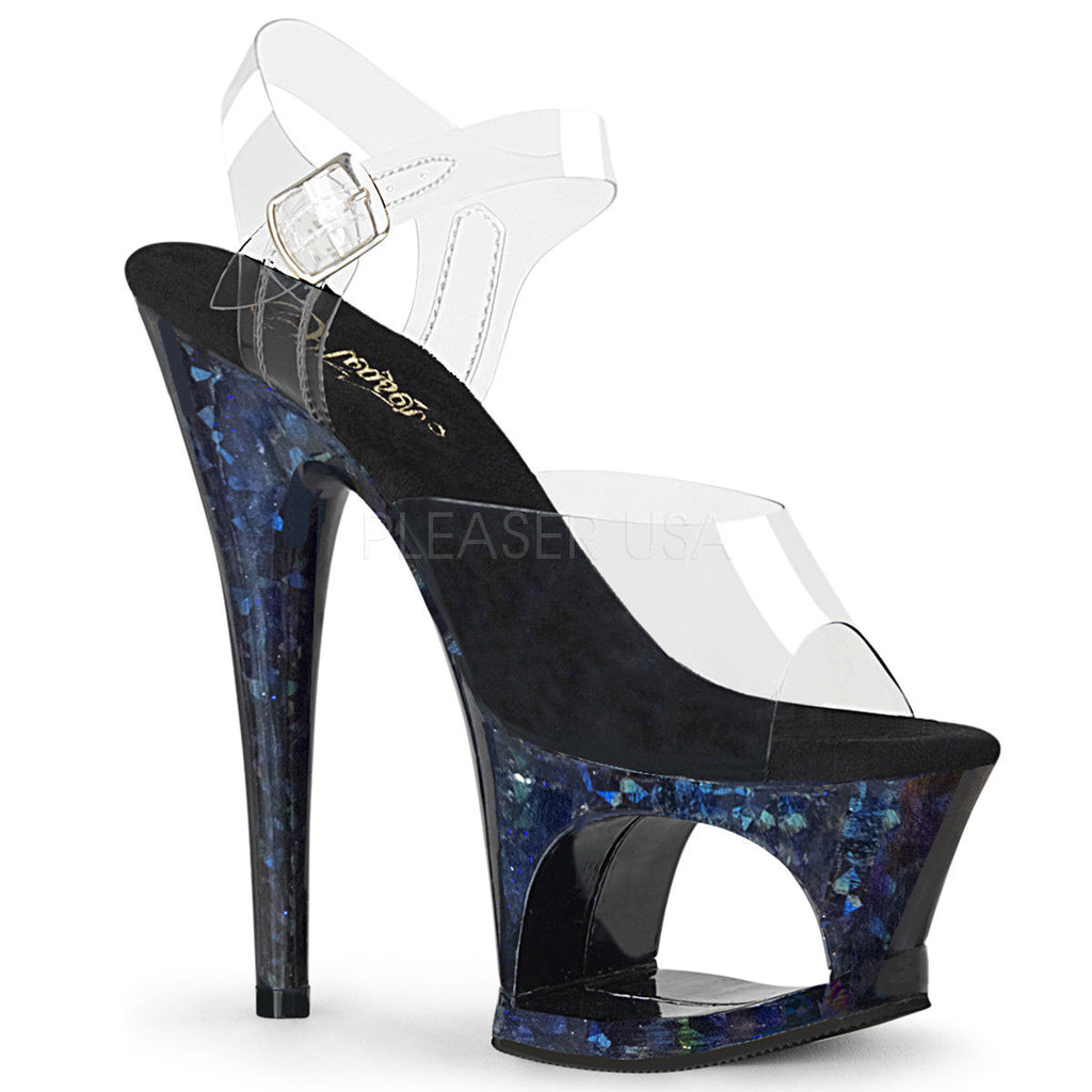 "PLEASER Moon-708HSP Holographic Splatter Stripper Pole Dancer Platform 7"" Heels - A Shoe Addiction"