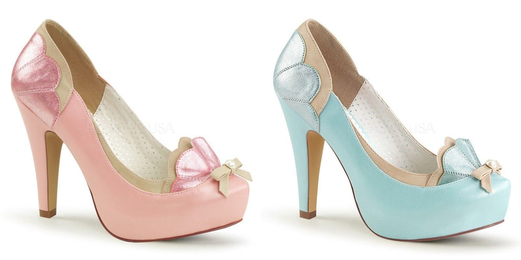Discontinued PINUP COUTURE Bettie-20 Pink Blue Pin Up Scalloped Pearl Pumps Heel - A Shoe Addiction