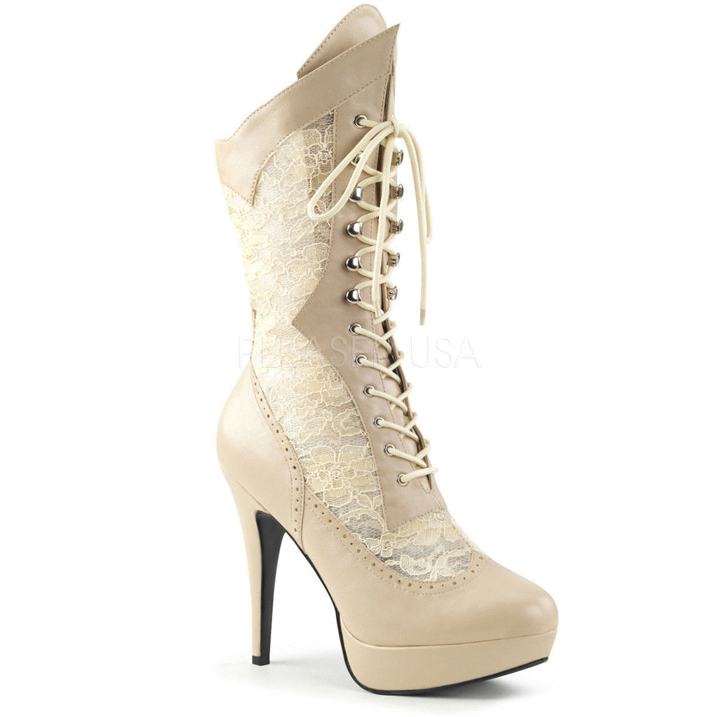 Discontinued PLEASER PINK LABEL Chloe-115 WIDE WIDTH Cream Drag Lace Boots 8-15 - A Shoe Addiction