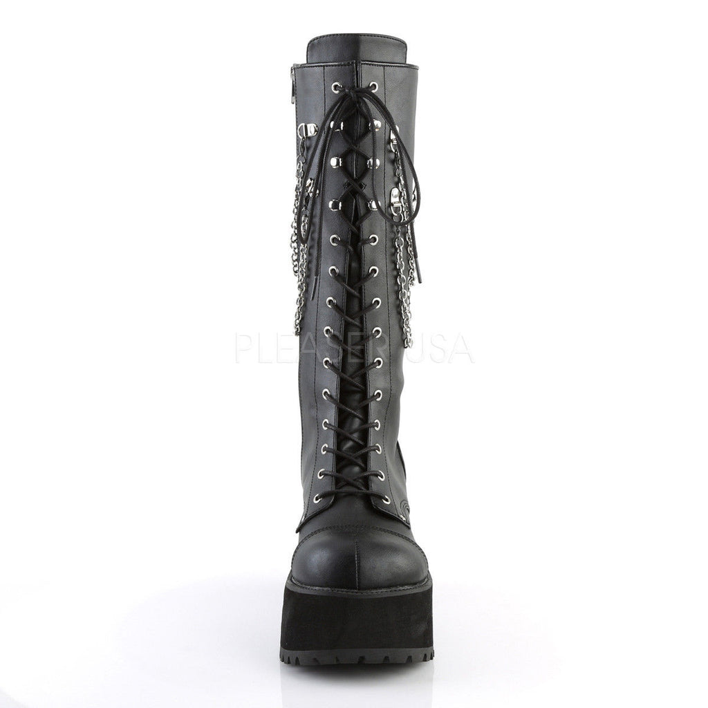 DEMONIA Ranger-303 Chain Strap Goth Punk Men's Unisex Combat Platform Knee Boots - A Shoe Addiction