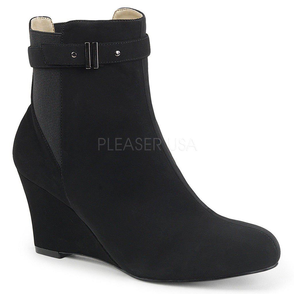 "PLEASER PINK LABEL Kimberly-102 Black Brown 3"" Wedges Boots Drag Women's 8-15 - A Shoe Addiction"