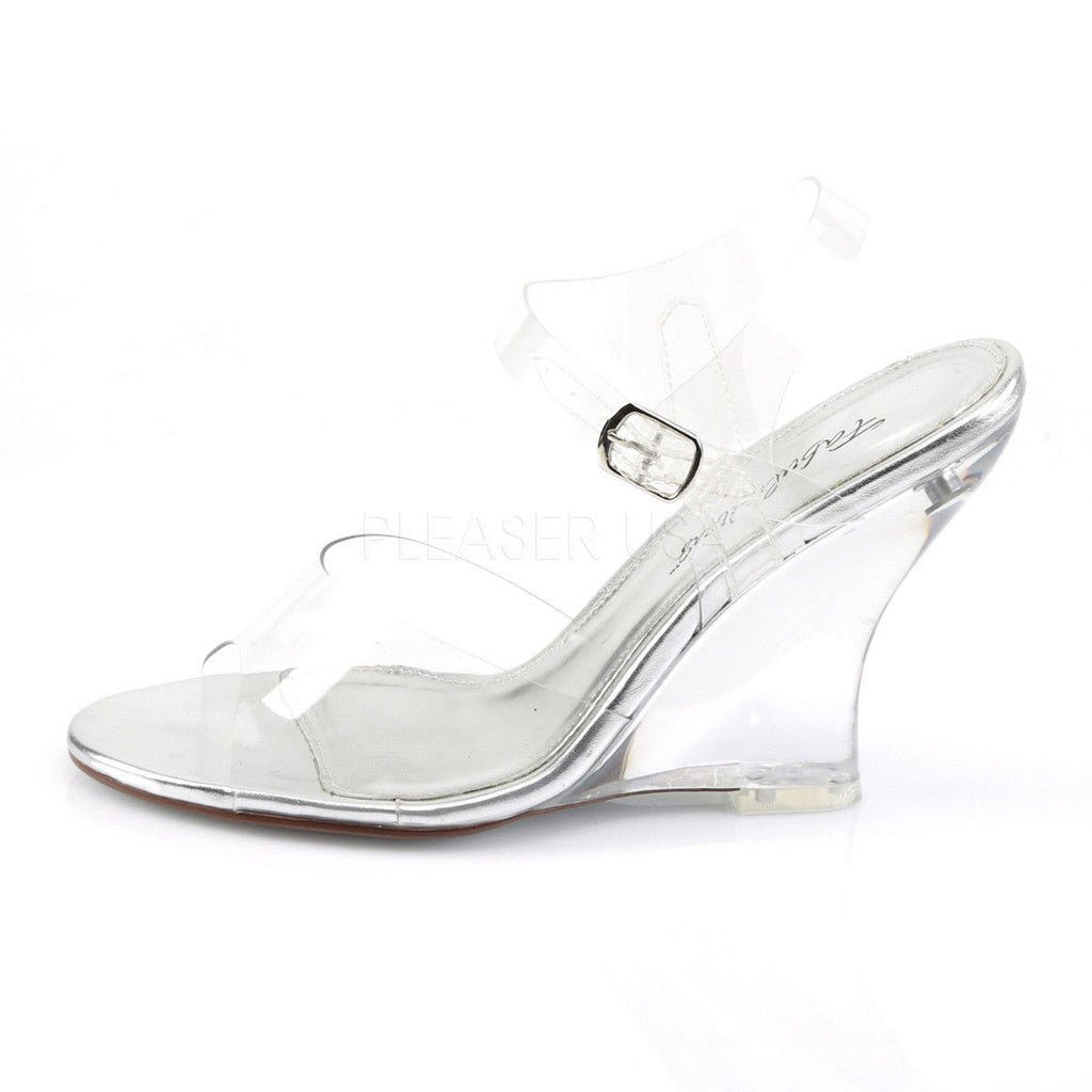 "FABULICIOUS Lovely-408 Clear Ankle Strap Party Wedding 4"" Wedges Sandals Heels"