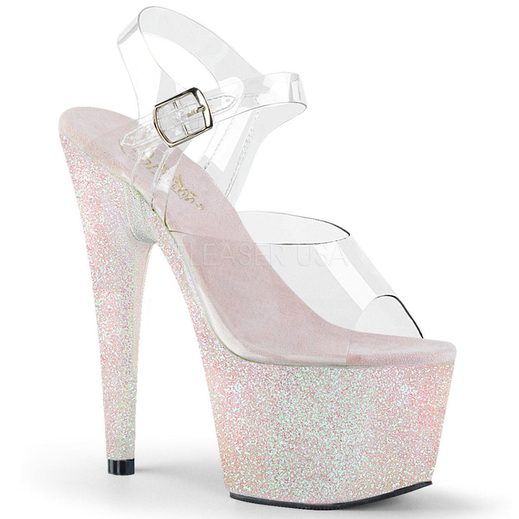"PLEASER Adore-708HMG Holographic Mini Glitter 7"" Stripper Club Platforms Heels - A Shoe Addiction"
