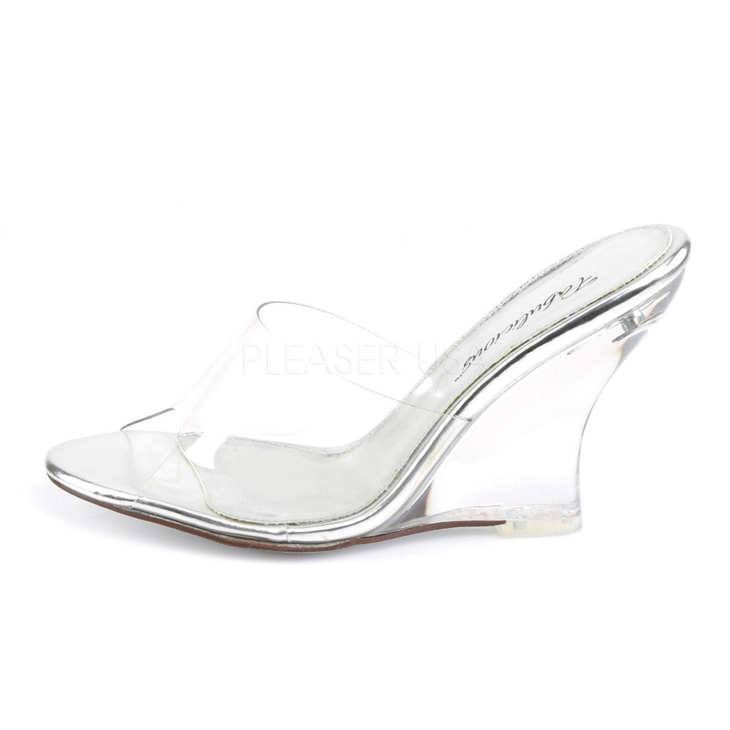 "FABULICIOUS Lovely-401 Clear See Through Slides Dress 4"" Wedges Sandals Heels"