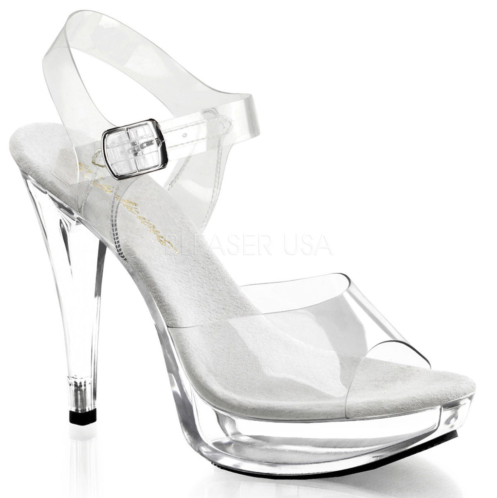 FABULICIOUS Cocktail-508 Clear Chrome FItness Bikini Model Comp Straps Heels - A Shoe Addiction
