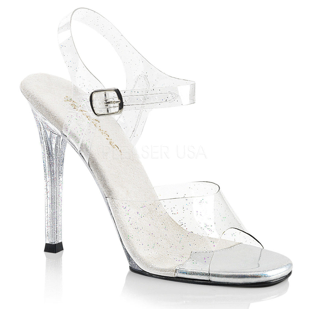 "FABULICIOUS Gala-08MMG Clear Glitter Fitness Bikini Model Comp Wedding 4.5"" Heel - A Shoe Addiction"