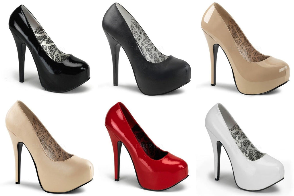 BORDELLO Teeze-06W WIDE WIDTH Black Red White Drag Queen Large Pumps Heels 10-15 - A Shoe Addiction