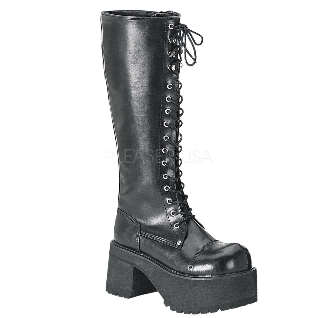 DEMONIA Ranger-302 Goth Punk Men's Unisex Combat Lace Up Zip Platform Knee Boots - A Shoe Addiction